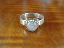 Silver 925 Ring Size 7 1/2 Light Pink Stone on Band Sterling