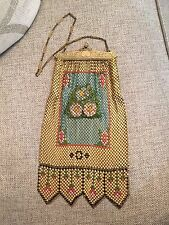 Antique WHITING AND DAVIS Mesh Evening Bag Purse Enamel Embossed Flowers Yellow