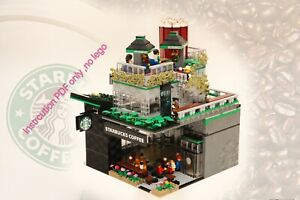 Lego Moc Starbucks Coffee Shop Instcution Only (not 10182 10190 )