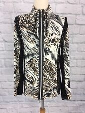 Dolce Vita Size 12/14 Long Sleeve Zip Up Animal Print with Leather Weave Detail
