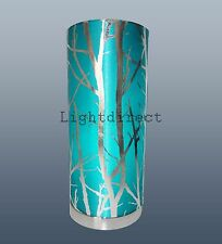 Teal Blue Tree Metallic Silver Branch Forest Scene Table Lamp Bedside Light Fabr
