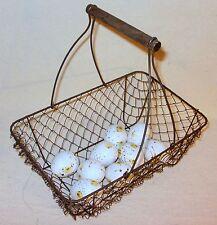 Primitive Rust-Brown Chicken Wire Egg Gathering Basket Wood Handle Farmhouse