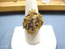 LQQK Vintage unique large solid 14K yellow GOLD RING w/ Rubies & Leaves sz 9.25