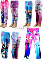 Kids Girls Disney FROZEN PRINCESS ELSA/ANNA Prints Leggings Trouser Pants,2-6yrs