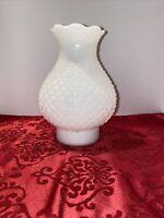 Vintage White Milk Glass Boudoir Hobnail Hurricane Chimney Vanity Lamp Shade EC