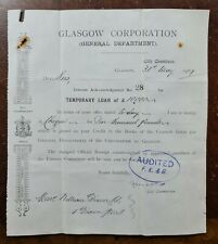 1907 Glasgow Corporation £10,000 Loan Document