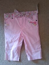 NWT SUPER CUTE PINK PANTS WITH FLOWERS SASH AND EMBROIDERED FLOWERS SIZE 2T