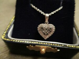 STERLING SILVER BLACK & WHITE DIAMOND HEART  PENDANT NECKLACE IN GIFT BOX