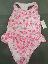 NWT Baby Gap ONE PIECE White and Pink Leaves Skirted Lined SWIM SUIT Sz 5 Girl