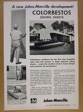 1953 Johns-Manville COLORBESTOS Asbestos Siding Sheets vintage print Ad