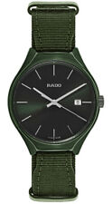 Rado True Green Fabric Strap Green Dial Date Ceramic Quartz Mens Watch R27233316