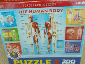 Educational Puzzle Human Body 200 Pieces Eurographics Kids NOS USA Sealed New
