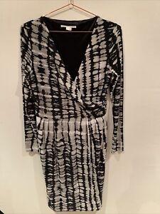 Jane Lamerton Dress - 12 - Black & Grey Print - V Neck Wrap Look - Long Sleeve