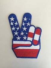 Peace Sign American Flag Embroidered Patch Iron on or Sew on