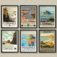 Vintage Poster Cornwall Cornish St Ives St Michaels Mount Bude Carbis Penzance