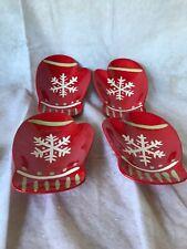 Hallmark Ceramic Mittens Snowflake Dish Tray Set Of 4 Christmas Holiday Decor