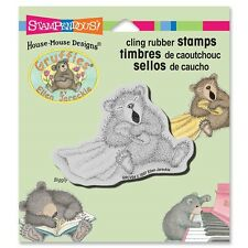 HOUSE MOUSE RUBBER STAMPS CLING BIG YAWN GRUFFIES STAMP