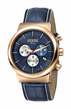 Ferre Milano Men's FM1G106L0031 Chrono Gold IP Steel Blue Leather Date Watch