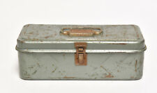 VINTAGE  INDUSTRIAL GRAYISH GREEN METAL BOX TOOL TACKLE BOX