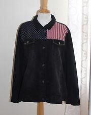 DG2 Diane Gilman Stars Stripes Distressed Black Stretch Denim Jean Jacket Sx 2X