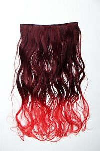 Extension Hair Extension Clip-In 5 Clip Curly Bi-Coloured Ombre Red 50cm Long