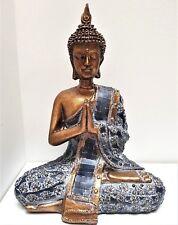 NAMASKARA PRAYING THAI BUDDHA RESIN STATUE ORNAMENT FIGURINE BRONZE DK BLUE 20CM