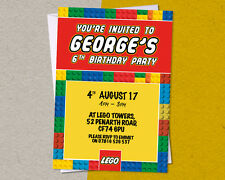 12 x Personalised LEGO Birthday Party Invitation/Invites A6 FREE Envelopes