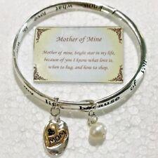 Mother Bangle Bracelet Mom Love Heart Silver Gold Charm Metal Daughter Son
