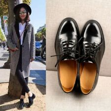 British Formal Women's leather Shoes Lace Up Oxfords Flats Casual Shoes Black