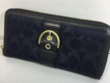 Coach Campbell Buckle Accordion Zip Wallet Signature Lurex Navy Blue