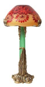 """Einzigartige Gallé Jugendstil Art Nouveau Prunklampe """"SHIMMERING MUSHROOM"""" 80 cm"""