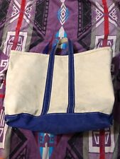 Vintage LL Bean Boat & Tote Bag - White with Navy Blue Trim - Cursive Tag