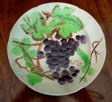 Antique St. Clemens Majolica Plate Grapes Grapevines Leaves Made n FRANCE MARKED