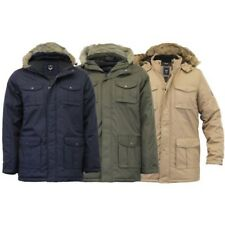 Mens Parka Jacket Brave Soul Coat Hoodie Fur Padded Casual Lined Winter Fashion