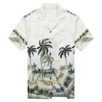 Made in Hawaii Men Hawaiian Aloha Shirt Luau Cruise Party Palms Edge Green