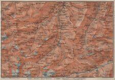 LUGNETZTAL SURSELVA. Valserrhein Furketlihorn Hinterrhein Splügen 1911 old map