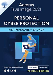Acronis True Image 2021 1 PC/Mac 1 Year 1TB Cloud Backup Antivirus Premium Cyber