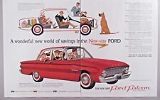 Ford Falcon Automobile Double-Page Print Ad - 1959 ~ 1960 model; Great Dane dog
