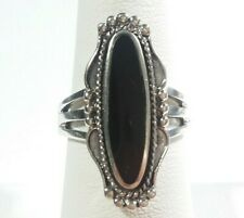 925 STERLING SILVER SOUTHWEST STYLE BRAIDED & BEADED BLACK ONYX SIZE 7 RING