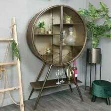 Industrial Glazed Drinks Unit Display Cabinet Metal Grey Storage Wine Rustic