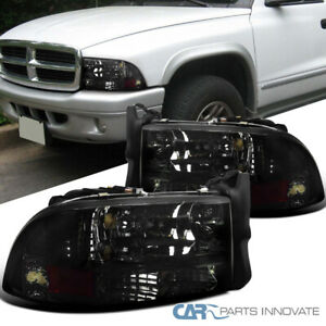 For 97-04 Dodge Dakota Durango Replacement Chrome Smoke 1PC Headlights Lamps
