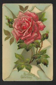 Birthday Greeting Embossed Vintage Color Postcard