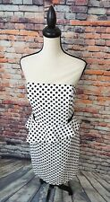 NWT $170 White House Black Market Strapless Polka Dot Peplum Dress Sz 14 NEW