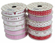 Job Lot Dovecraft With Love Ribbon 24m 12 Designs Red White Pink Hearts