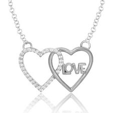 14K Solid White Gold Heart love Diamond pendant with Free Chain
