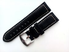 Genuine Leather Suede watch strap for Armani 26mm  BLACK with buckle