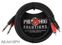 "10ft Pig-Hog Dual 1/4"" TS Mono Male Plug to 2-RCA Male Plug  Audio Cable"