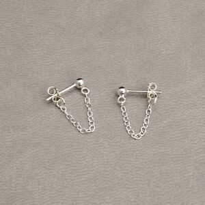 925 Sterling Silver Front to Back Chain Stud Drop Earrings Simple Minimalist UK
