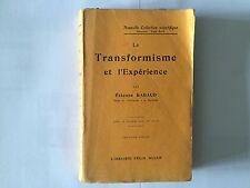 TRANSFORMISEME ET EXPERIENCE 1911 RABAUD NOUVELLE COLLECTION SCIENTIFIQUE