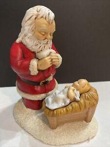 CHRISTMAS KNEELING SANTA AND BABY JESUS FIGURINE